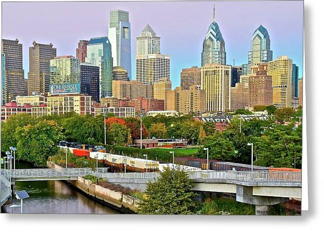 Walking Path To Philadelphia Greeting Card by Frozen in Time Fine Art Photography