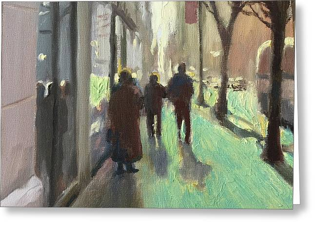 Recently Sold -  - People Paintings Greeting Cards - Walking South on Fifth Greeting Card by Betsy Havens
