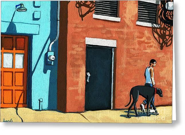 Linda Apple Paintings Greeting Cards - Walking Tall Greeting Card by Linda Apple