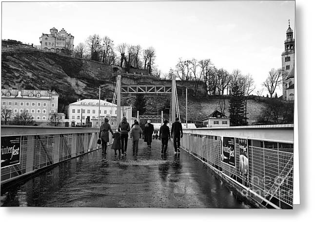 Art In Salzburg Greeting Cards - Walking the Bridge in Salzburg mono Greeting Card by John Rizzuto