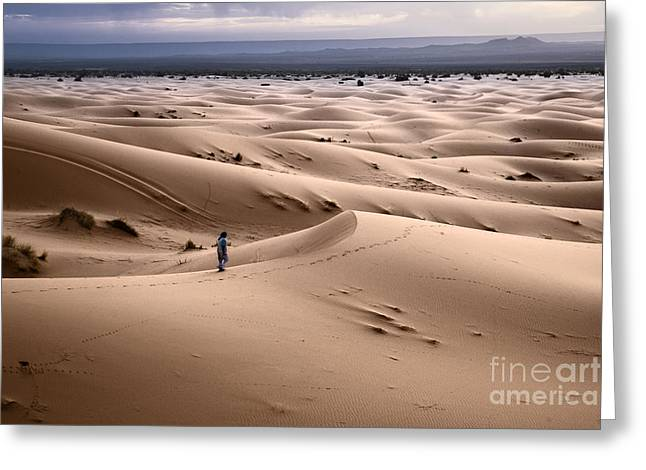 Sand Dunes Greeting Cards - Walking the desert Greeting Card by Yuri Santin