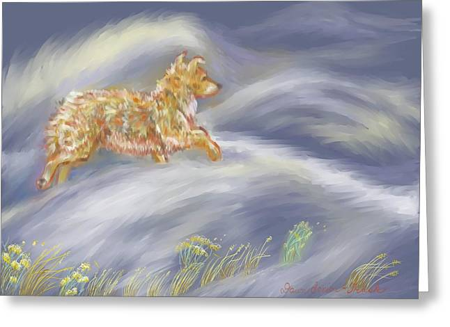 Snow Drifts Drawings Greeting Cards - Walking the Dog in a Ground Blizzard Greeting Card by Dawn Senior-Trask