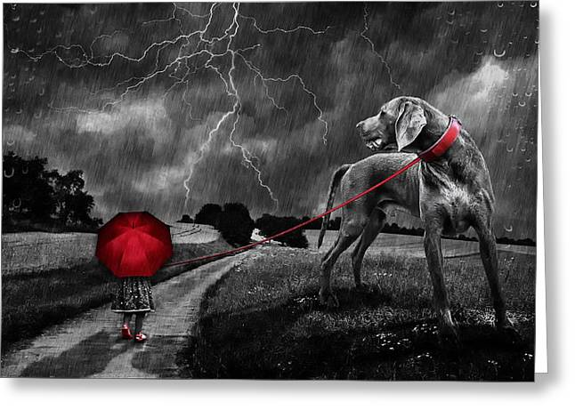 Country Lanes Digital Art Greeting Cards - Walking The Dog In The Rain Greeting Card by Jonny