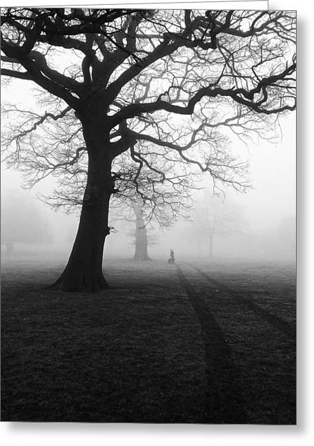 Dog Walking Photographs Greeting Cards - Walking the Dog on a Foggy Morning Greeting Card by Coombesy