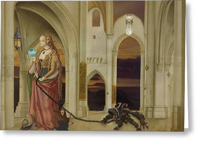 Walking The Dog Greeting Card by Terry Fleckney