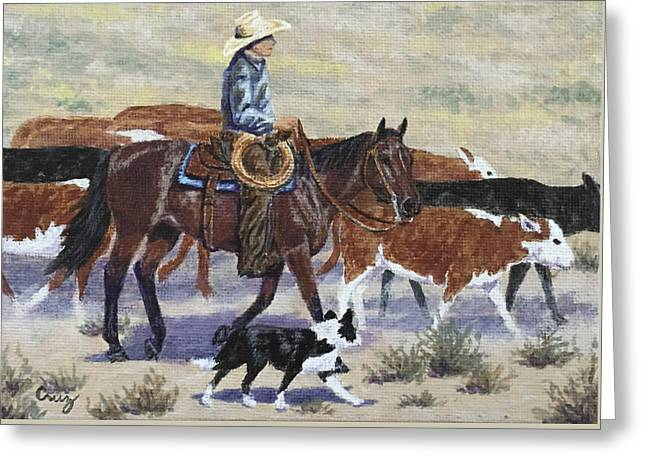 Dogie Greeting Cards - Walking the Dogies Greeting Card by Linda Cruz