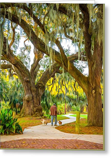 Walking The Dogs In New Orleans - Paint Greeting Card by Steve Harrington
