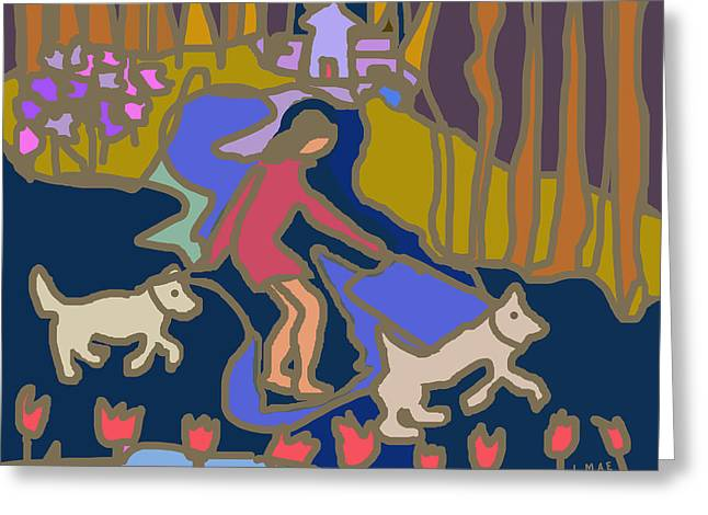 Dog Walking Digital Art Greeting Cards - Walking the Dogs Greeting Card by J Mae