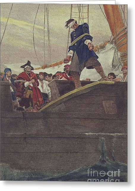 Rope Greeting Cards - Walking the Plank Greeting Card by Howard Pyle