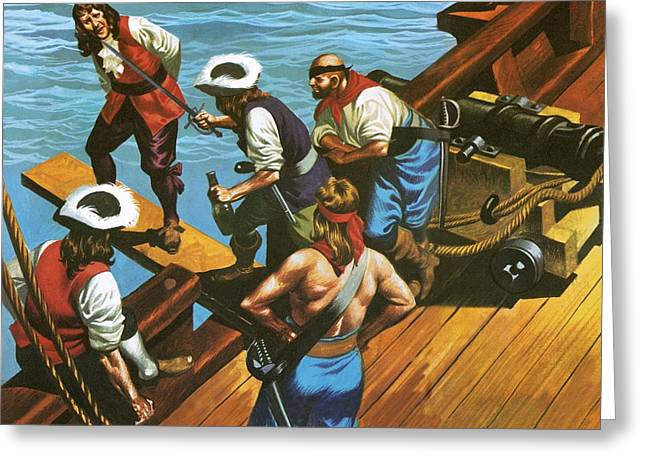 Walking The Plank Greeting Card by Ron Embleton