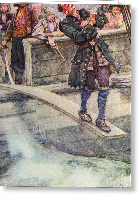 Walking The Plank Greeting Card by Walter Stanley Paget