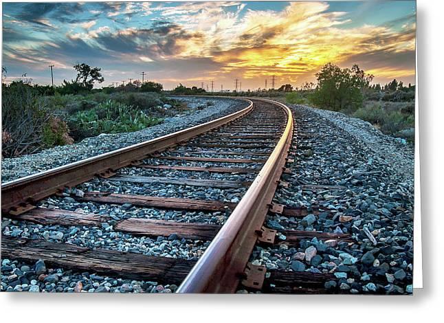 Walking The Rails Greeting Card by Aron Kearney