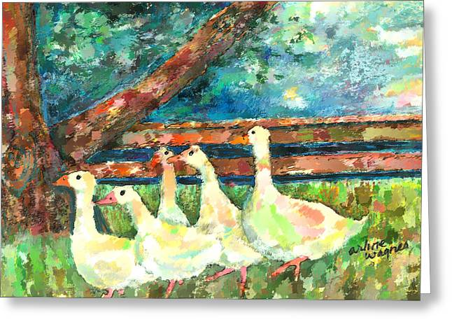 Ducks Digital Art Greeting Cards - Walking Through The Grass Greeting Card by Arline Wagner