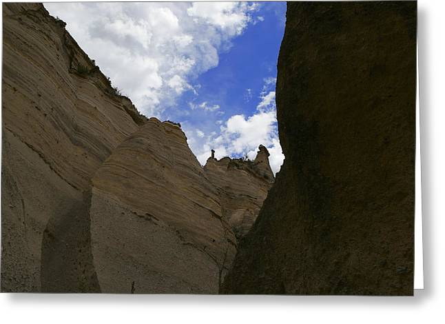 Tent Rocks Canyon Greeting Cards - Walking through the slot canyon in Tent Rock  Greeting Card by Jeff  Swan