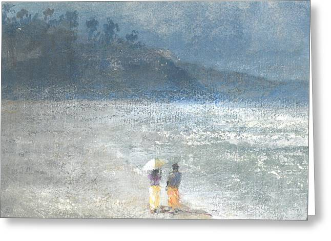 On The Beach Greeting Cards - Walking to Work Greeting Card by Lincoln Seligman