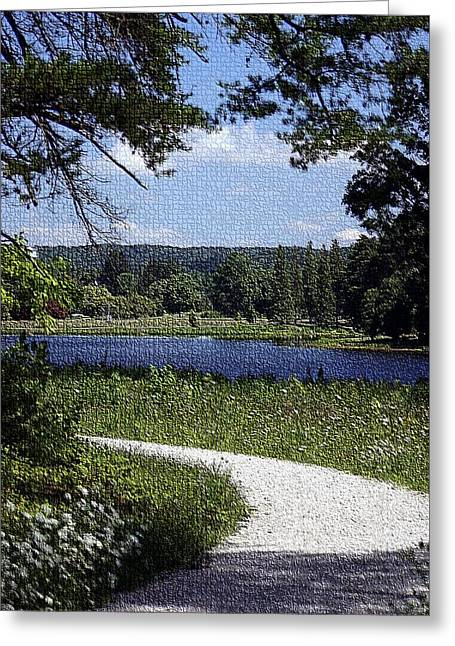Shadows Tapestries - Textiles Greeting Cards -  Trail Around Lake Nevin - Bernheim Forest Greeting Card by Thia Stover