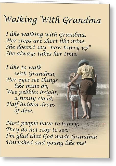 Poem Greeting Cards - Walking With Grandma Greeting Card by Dale Kincaid