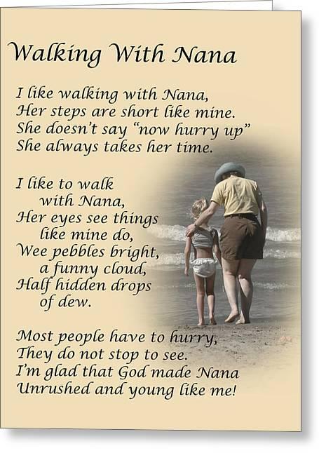 Walking With Nana Greeting Card by Dale Kincaid