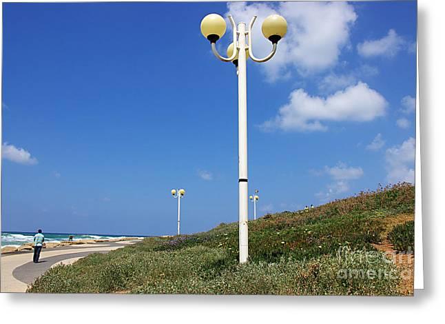 Tels Greeting Cards - walkway along the Tel Aviv beach Greeting Card by Zalman Latzkovich