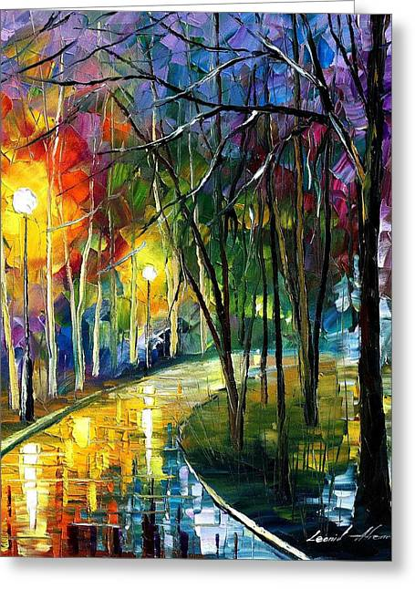 Popular Art Greeting Cards - Walkway In The Park - PALETTE KNIFE Oil Painting On Canvas By Leonid Afremov Greeting Card by Leonid Afremov