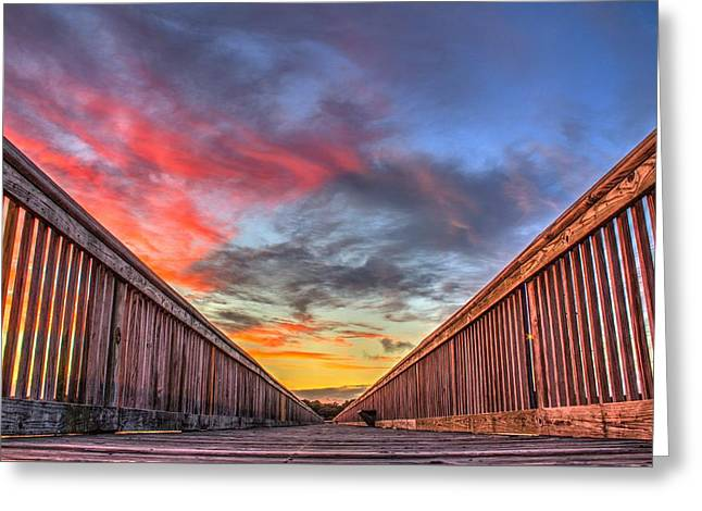 Sunset Prints Greeting Cards - Walkway into the Sunset Greeting Card by Brian Hamilton