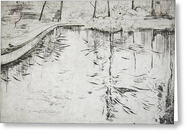 Reflecting Water Drawings Greeting Cards - Walkway   Kew Gardens Greeting Card by Calum McClure