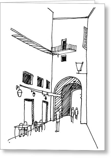 Sienna Italy Drawings Greeting Cards - Walkway Greeting Card by Nora Medellin