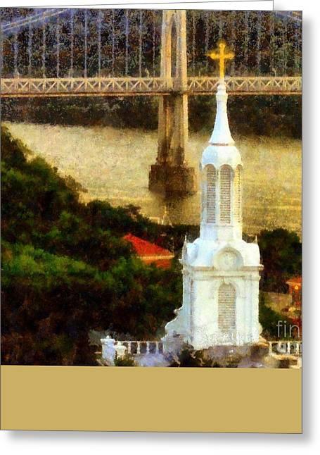 Train On Bridge Greeting Cards - Walkway over the Hudson - Our Lady of Mount Carmel Church Steeple Greeting Card by Janine Riley