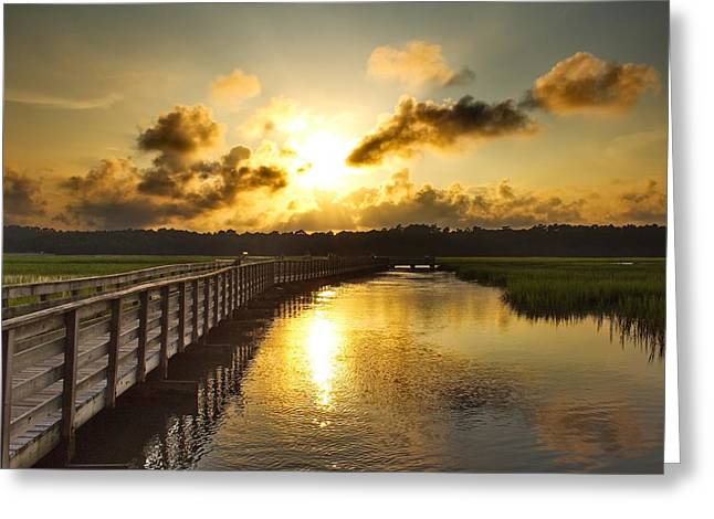 Sunset Prints Greeting Cards - Walkway View Greeting Card by Brian Hamilton