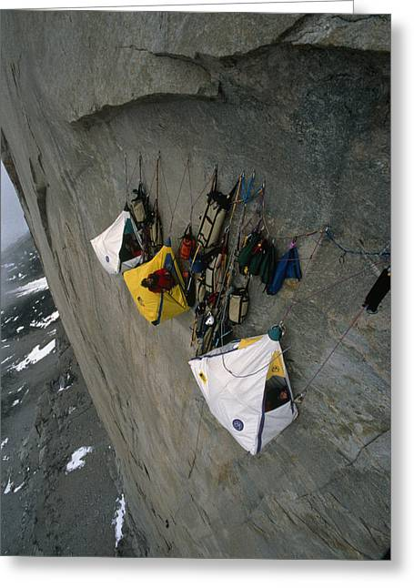 Nunavut Greeting Cards - Wall Camp At An Elevation Of 4000 Feet Greeting Card by Gordon Wiltsie