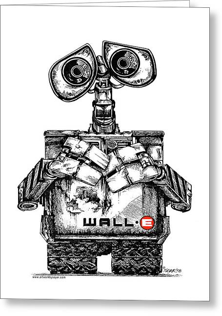 Best Sellers -  - Pen And Ink Drawing Greeting Cards - Wall-e Greeting Card by James Sayer