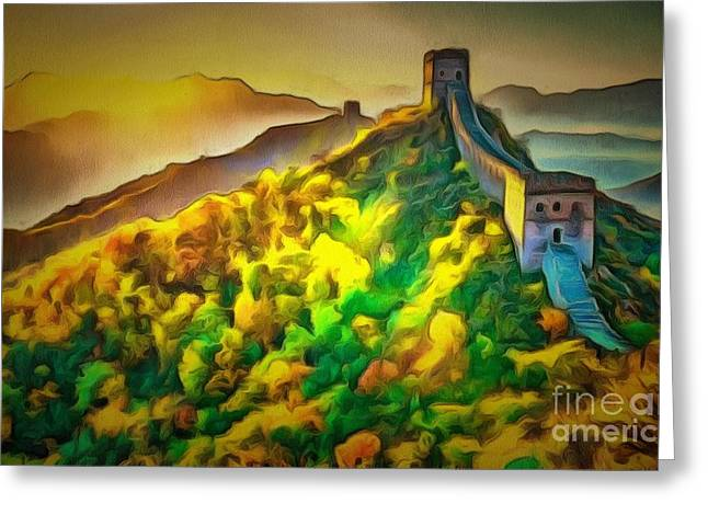 Print On Canvas Greeting Cards - Wall In Ambiance Greeting Card by Catherine Lott