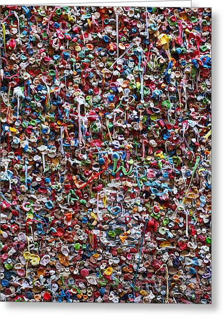 Sticky Greeting Cards - Wall of chewing gum Seattle Greeting Card by Garry Gay