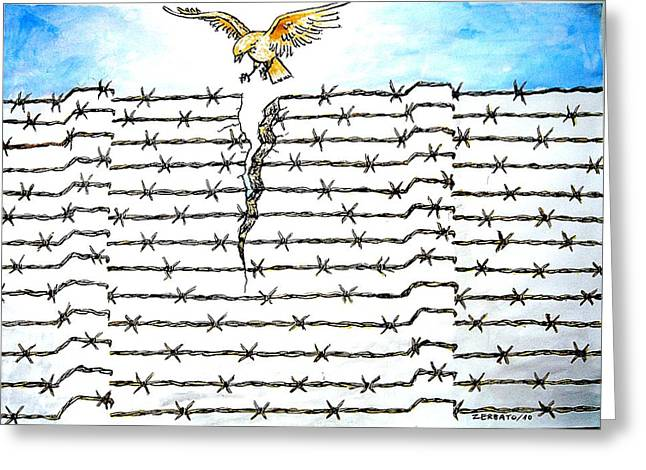 Intolerance Mixed Media Greeting Cards - Wall Of Separations Greeting Card by Paulo Zerbato