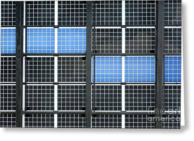 Rectangles Greeting Cards - Wall of Solar Panels Greeting Card by Yali Shi