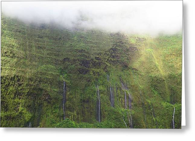 Lush Green Digital Greeting Cards - Wall of Tears at Molokai Island Greeting Card by Stacia Blase