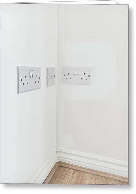 Wall Plugs Greeting Card by Tom Gowanlock
