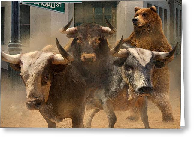 Wall Street Bull And Bear Markets Painting By Doug Kreuger