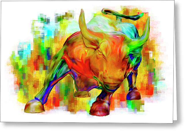 Stellar Paintings Greeting Cards - Wall Street Bull Greeting Card by Jack Zulli