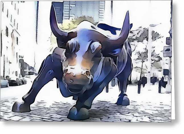 Exchange Mixed Media Greeting Cards - Wall Street Bull New York City Greeting Card by Dan Sproul