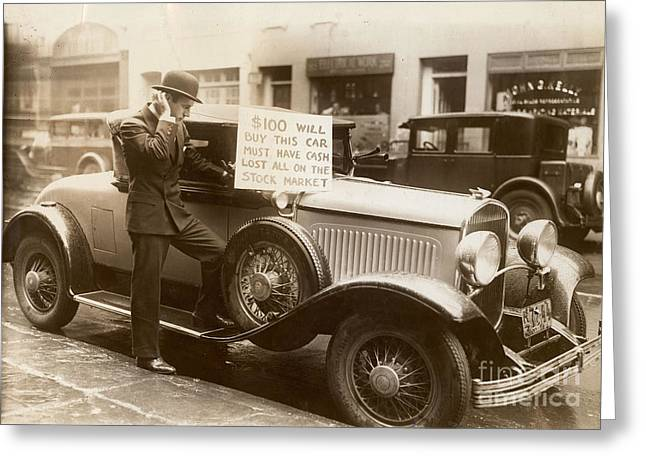 Sepia Greeting Cards - Wall Street Crash, 1929 Greeting Card by Granger