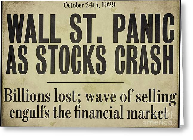 Wall Street Crash 1929 Newspaper Greeting Card by Mindy Sommers