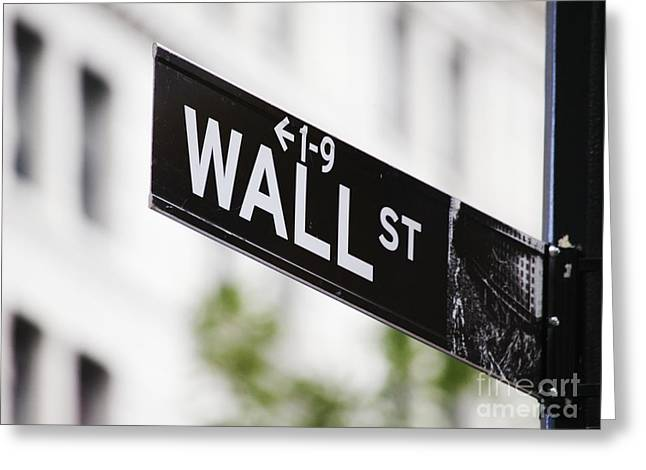 Wall Street Greeting Cards - Wall Street Sign Greeting Card by Jeremy Woodhouse