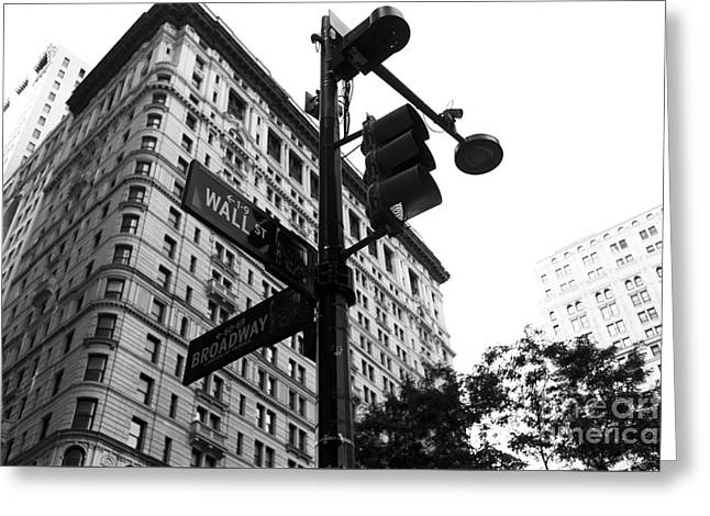 Wall Street Greeting Cards - Wall Street Sign mono Greeting Card by John Rizzuto