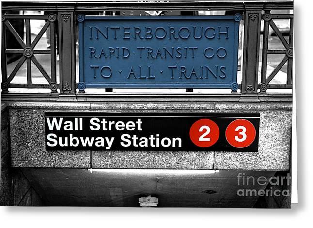 Wall Street Greeting Cards - Wall Street Subway Station Fusion Greeting Card by John Rizzuto