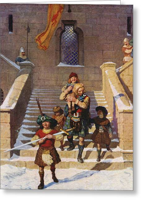 Wallace And The Children Greeting Card by Newell Convers Wyeth