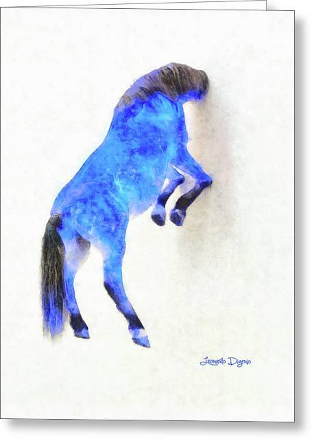Walled Blue Horse Greeting Card by Leonardo Digenio