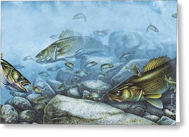 Walleye Reef Greeting Card by JQ Licensing
