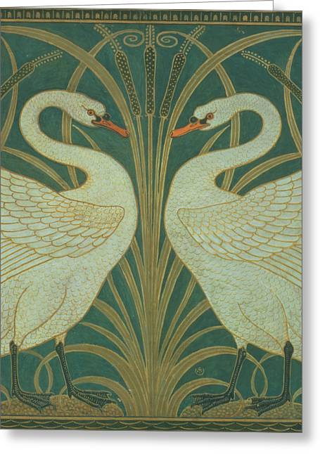 Wallpapers Greeting Cards - Wallpaper Design for panel of Swan Rush and Iris Greeting Card by Walter Crane
