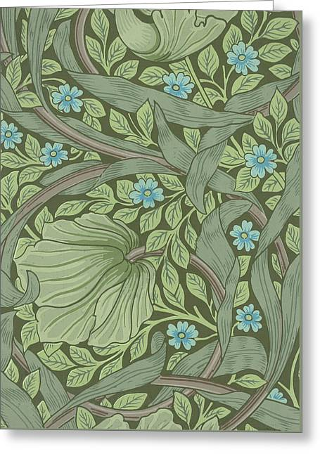 Wallpaper Sample With Forget-me-nots Greeting Card by William Morris